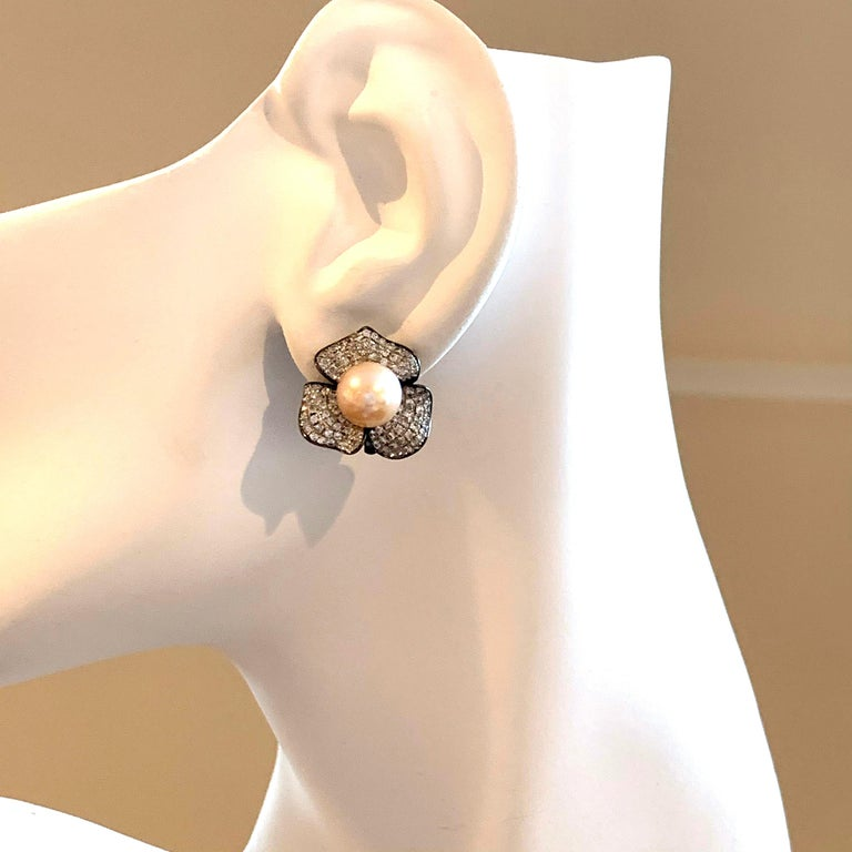 9mm Akoya Pearl and Pave Flower Black Rhodium Sterling Silver Clip Earrings For Sale 1