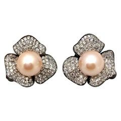 9mm Akoya Pearl and Pave Flower Black Rhodium Sterling Silver Clip Earrings