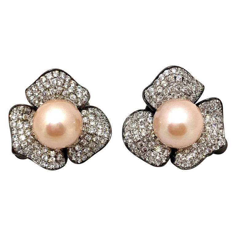 9mm Akoya Pearl and Pave Flower Black Rhodium Sterling Silver Clip Earrings For Sale