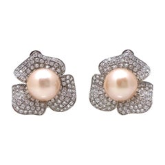 9mm Akoya Pearl and Pave Flower Sterling Silver Clip Earrings