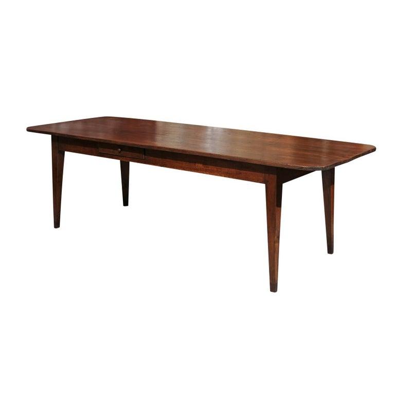 19th Century French Farm Table in Poplar with Oak Base