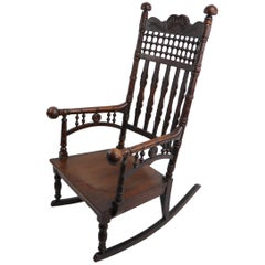 19th Century Oak Rocking Chair Attributed to Merklen Brothers