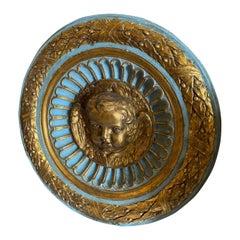 !9th Century Round Plaster Italian Ornament Depicting an Angel