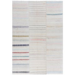 'Adjustable' Hand-Woven Kilim Rug, Cotton Floor Covering in Soft Colors