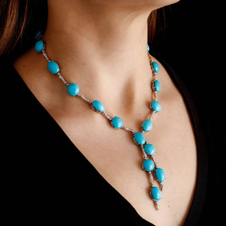 Women's A & Furst Drop Necklace 98.50 Carat Turquoise and 1.63 Carat Diamonds For Sale