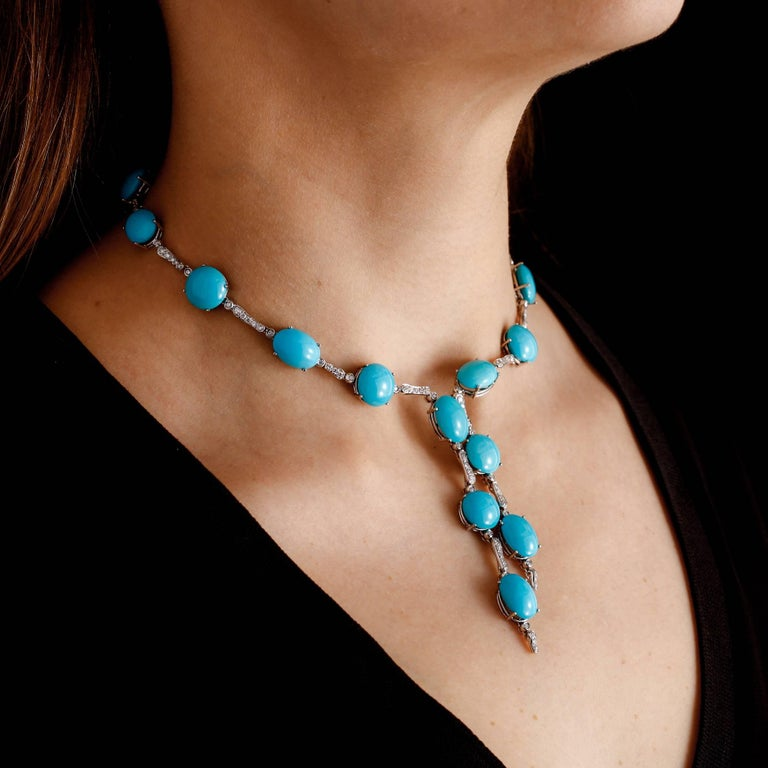 A & Furst Drop Necklace 98.50 Carat Turquoise and 1.63 Carat Diamonds For Sale 1