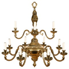 12-Light Brass Chandelier in the Flemish Style