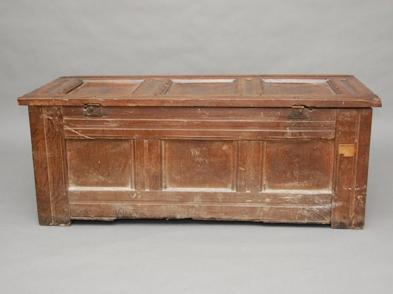 17th Century English Oak Chest For Sale 6