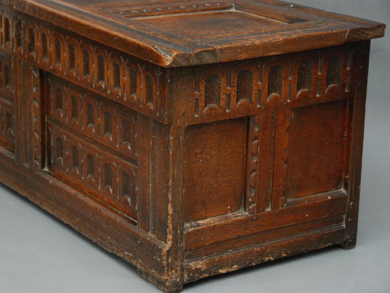 Hand-Carved 17th Century English Oak Chest For Sale