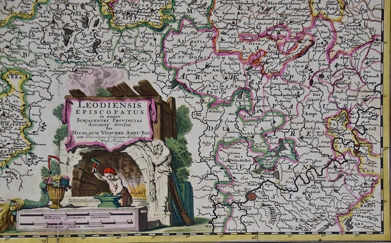 Dutch 17th Century Hand Colored Map of the Liege Region in Belgium by Visscher For Sale