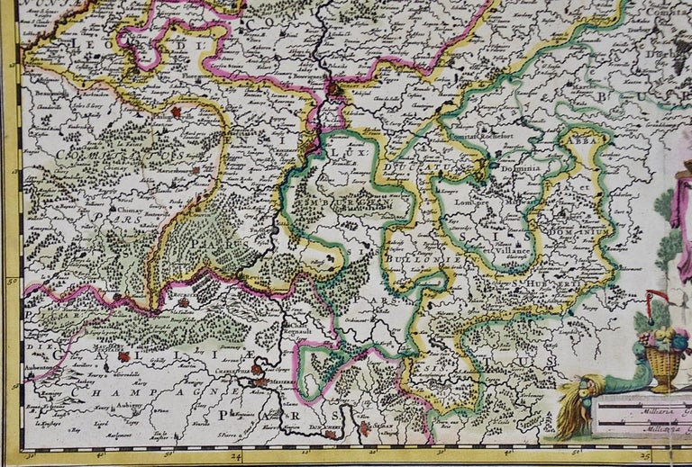 Engraved 17th Century Hand Colored Map of the Liege Region in Belgium by Visscher For Sale