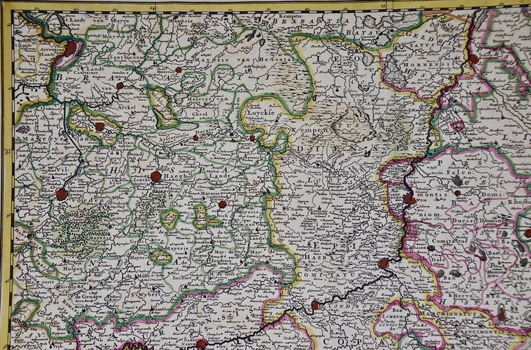 17th Century Hand Colored Map of the Liege Region in Belgium by Visscher In Good Condition For Sale In Alamo, CA