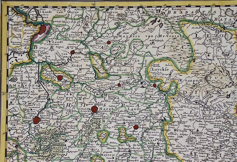 17th Century Hand Colored Map of the Liege Region in Belgium by Visscher For Sale 1