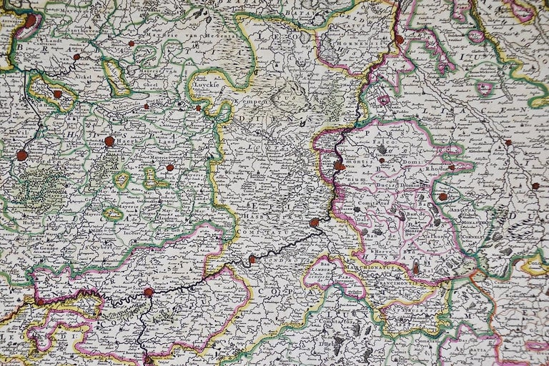 17th Century Hand Colored Map of the Liege Region in Belgium by Visscher For Sale 2