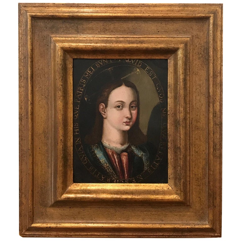 """17th Century Italian School Titled """"Boy with Halo"""" For Sale"""