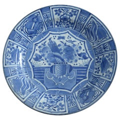 17th Century Japanese Blue and White Kraakware Porcelain Charger