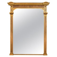 1800s Large Antique Gilded and Painted Overmantle Mirror