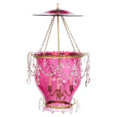 18th/19th Century Cranberry and Glass Lantern with Gilt Metal and Cut Glass
