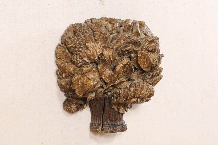 Hand-Carved 18th Century French Hand Carved Wood Floral Bouquet Wall Ornament Plaque For Sale