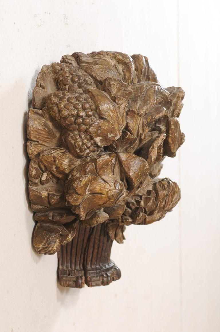 18th Century French Hand Carved Wood Floral Bouquet Wall Ornament Plaque For Sale 1