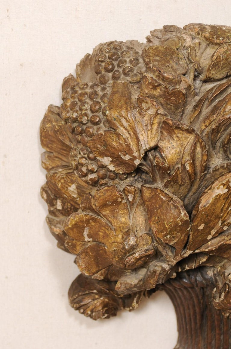 18th Century French Hand Carved Wood Floral Bouquet Wall Ornament Plaque For Sale 2