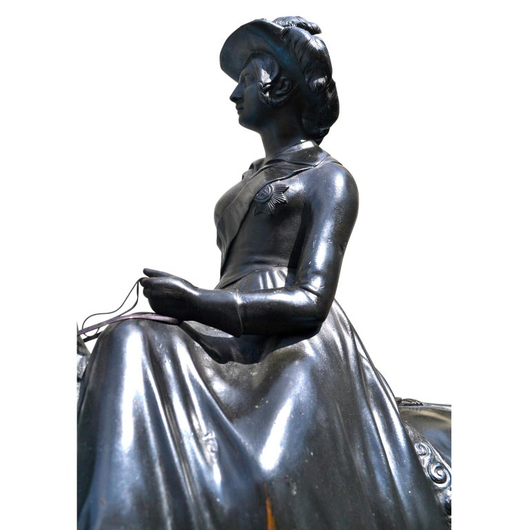 19th Century Equestrian Bronze Statue Of The Young Queen