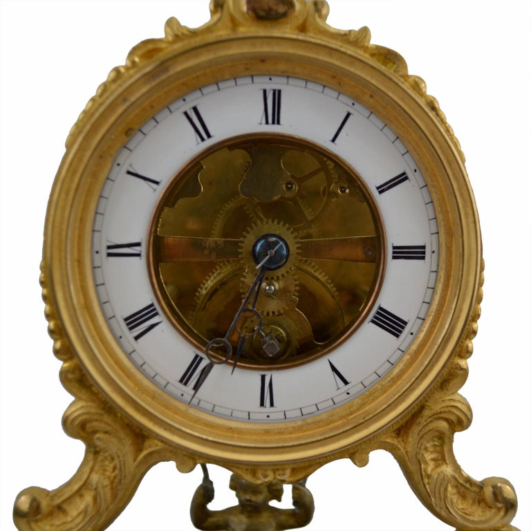 19th Century Glass Domed Gilt Bronze French Mystery Clock with a Swinging Putto For Sale 1