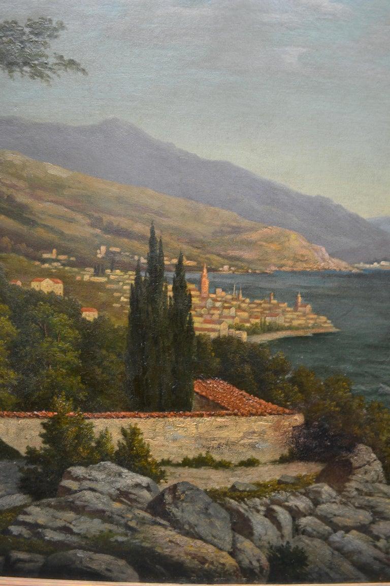 Romantic 19th Century Northern Italian Landscape around Lake Como by Karl Kaufman For Sale