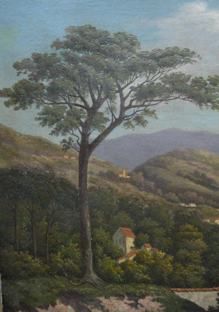 Canvas 19th Century Northern Italian Landscape around Lake Como by Karl Kaufman For Sale