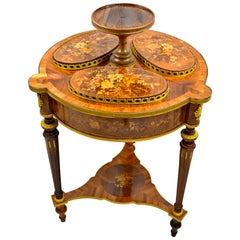 A 19th Century Round Napoleon III Marquetry Parlour or Salon Centre Table