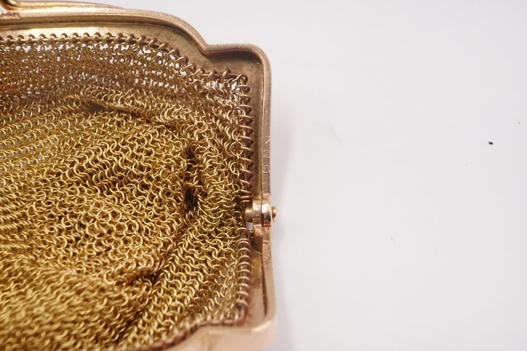 1900s Cartier Sapphire and 14 Carat Gold Mesh Bag For Sale 1