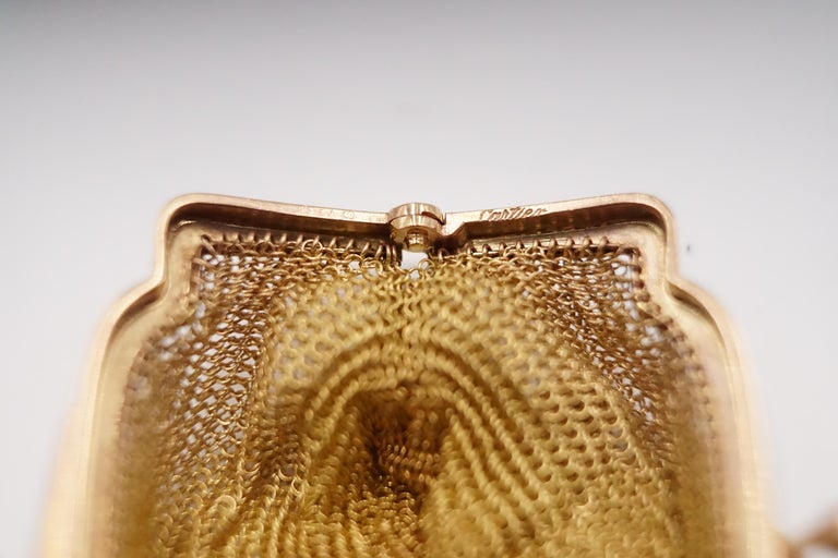 1900s Cartier Sapphire and 14 Carat Gold Mesh Bag For Sale 2