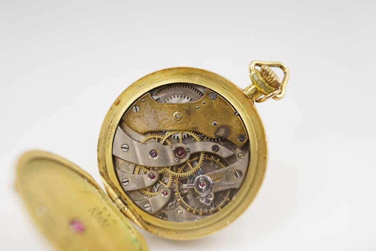 1906 Tiffany & Co. Diamond, Natural Ruby and Enamel 18 Carat Gold Pocket Watch In Fair Condition For Sale In London, GB