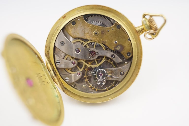 Women's or Men's 1906 Tiffany & Co. Diamond, Natural Ruby and Enamel 18 Carat Gold Pocket Watch For Sale
