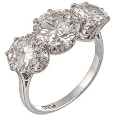 1920s Diamond Three-Stone Ring Featuring a 2.02 Carat Certificated Diamond