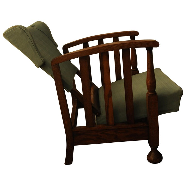 1928 Art Deco Oak Open Reclining Armchair with Green Upholstery For Sale