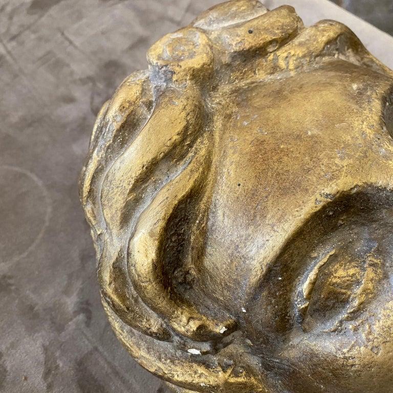 1930s Art Deco Gilded Plaster Italian Sculpture of an Head For Sale 5