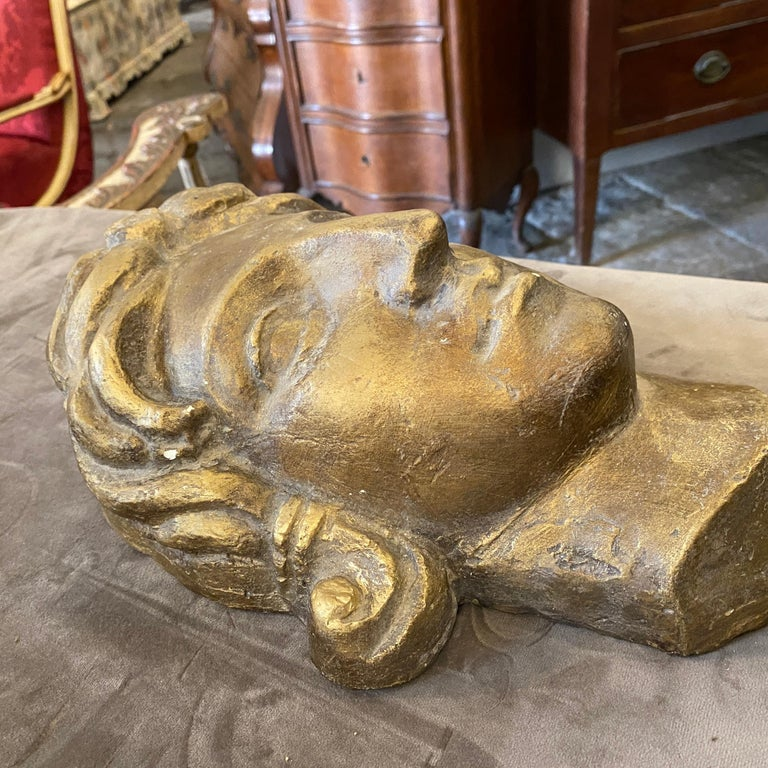 Mid-20th Century 1930s Art Deco Gilded Plaster Italian Sculpture of an Head For Sale