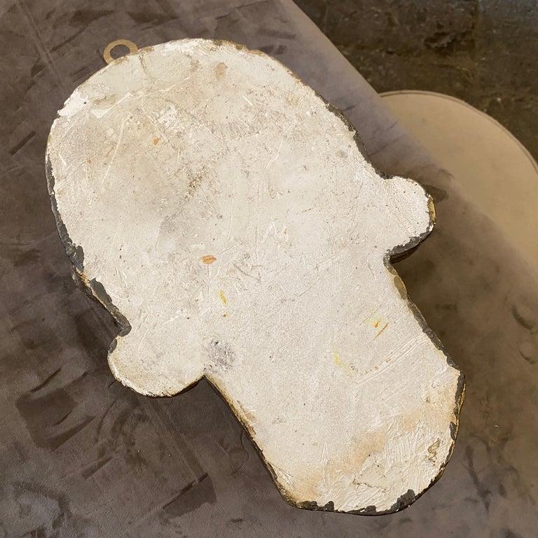 1930s Art Deco Gilded Plaster Italian Sculpture of an Head For Sale 3