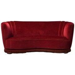 1940s Swedish Curved Red Velvet Sofa