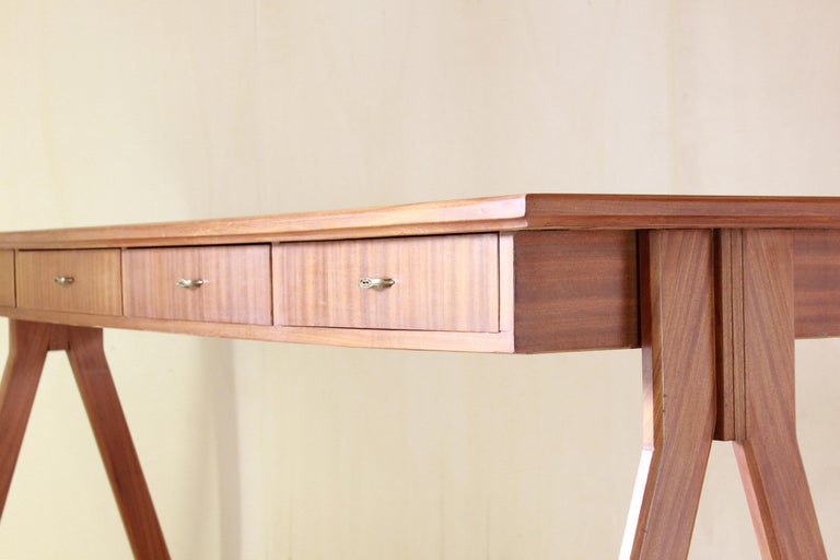 Mid-Century Modern 1950 Mahogany Vintage Console Table For Sale