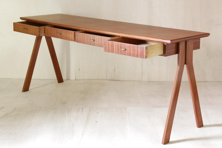 European 1950 Mahogany Vintage Console Table For Sale
