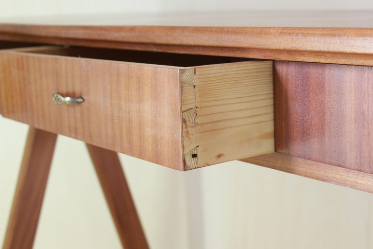 1950 Mahogany Vintage Console Table For Sale 2