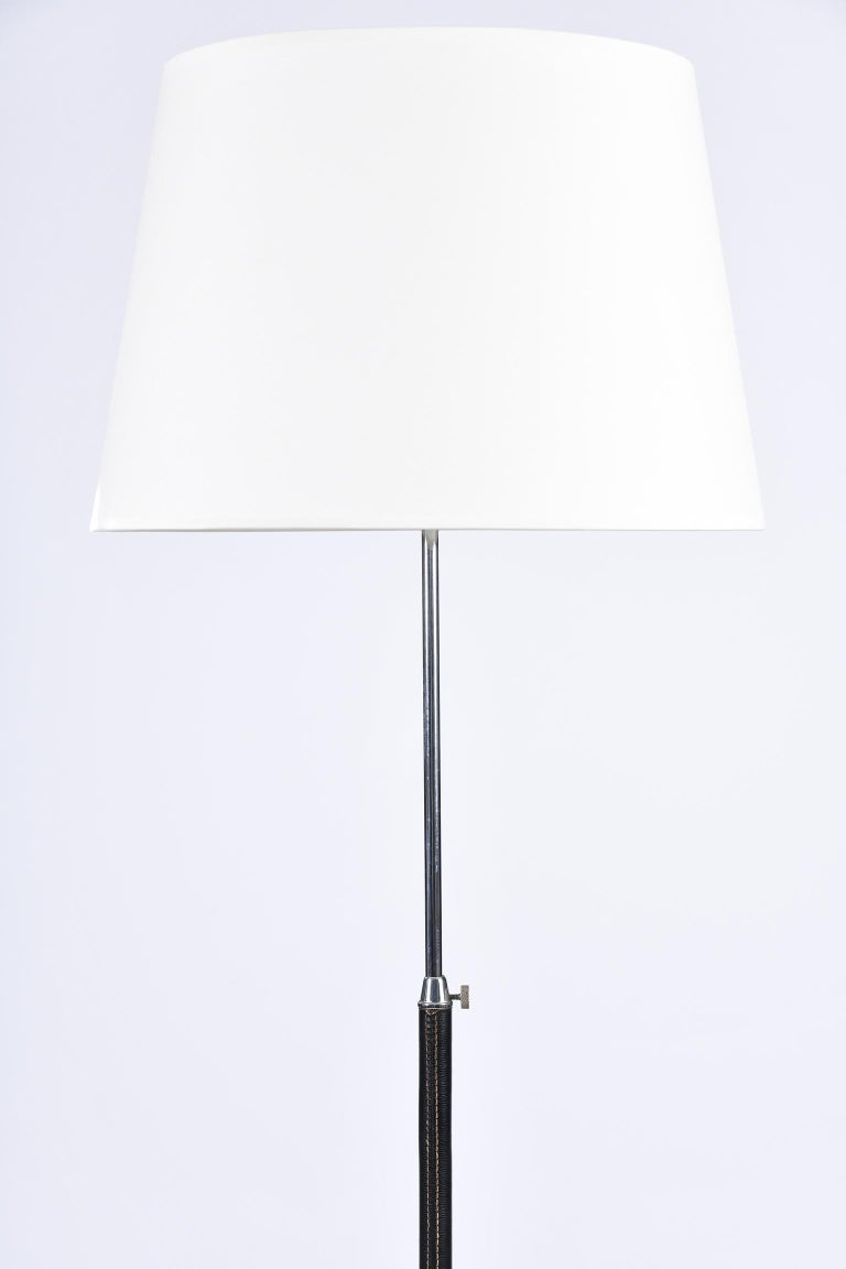 French 1950s Black Leather and Nickel Floor Lamp in the Manner of Jacques Adnet For Sale