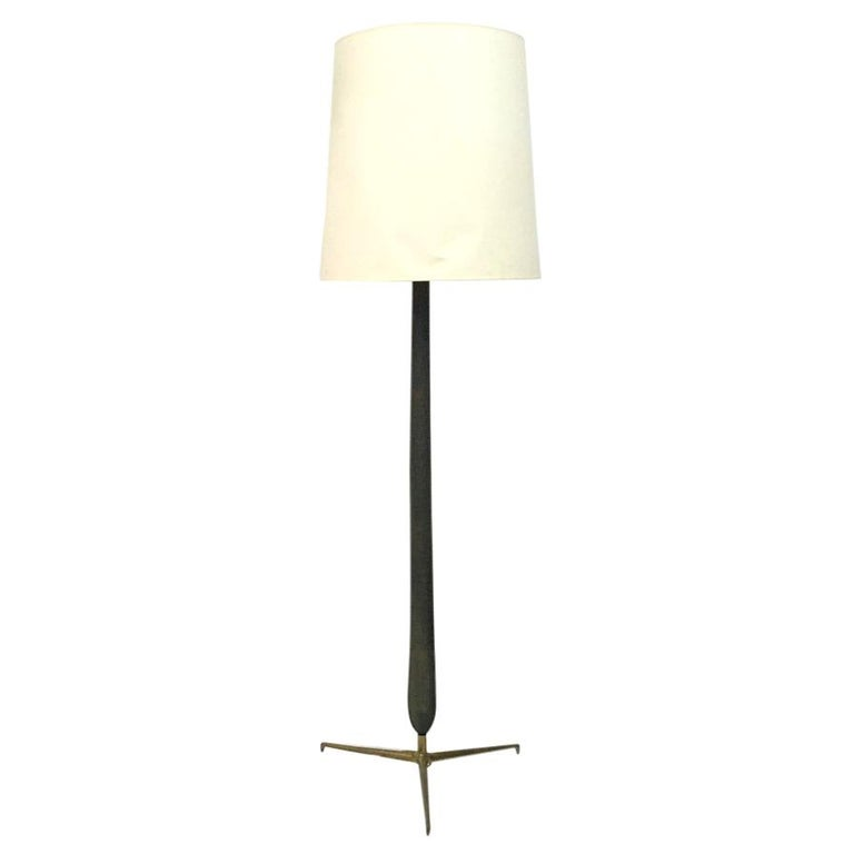 1950s Italian Wood and Brass Floor Lamp For Sale