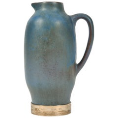 1950s Silver and Blue Ceramic Jug, Spain