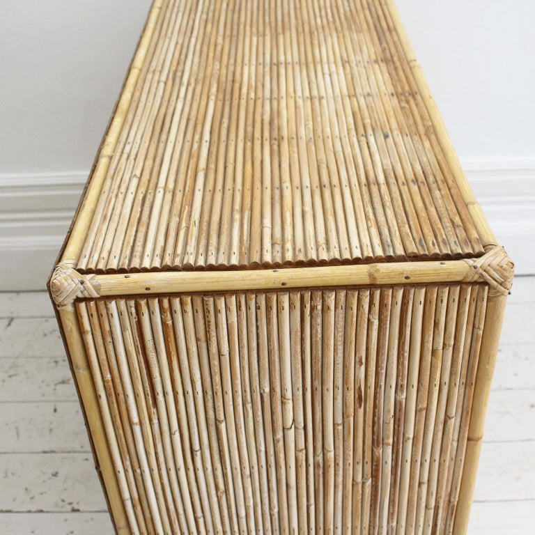 1950s Small Rattan Sideboard Cabinet in the French Riviera Style For Sale at 1stdibs