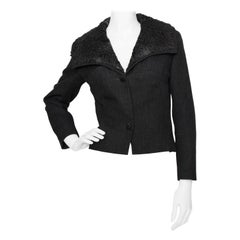 A 1950s Vintage Christian Dior Cropped Wool Jacket With Fur Collar