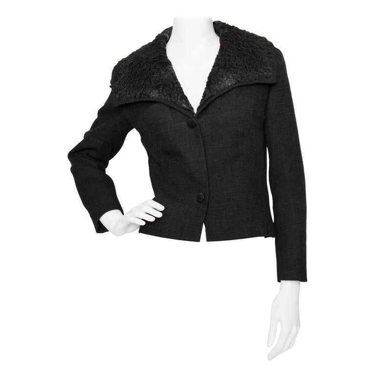 A 1950s Vintage Christian Dior Cropped Wool Jacket With Fur Collar For Sale