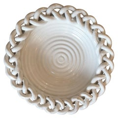 1950s White Braided Ceramic Bowl, Vallauris, France